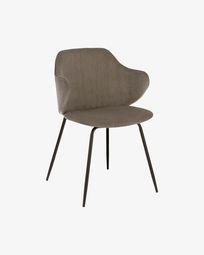 Krzesło Suanne z ciemnoszarego sztruksu z nogami z czarnej stali lakierowanej