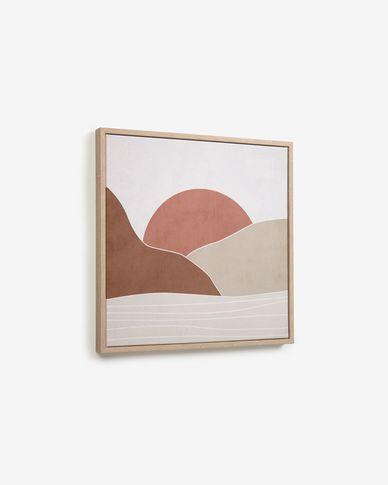 Quadro Izem sole e montagne marrone 40 x 40 cm
