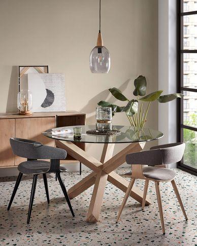 Lotus runder Tisch Ø 120 cm aus Glas und massiven Eichenholzbeinen