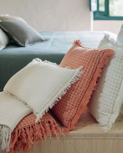 Funda de coixí Shallow 100% cotó blanc de 30 x 50 cm