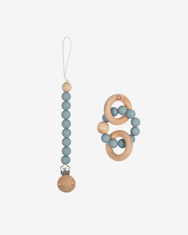Lot Epiphany d'une attache-tétine et anneau de dentition en silicone bleu et bois
