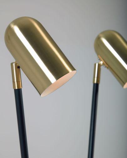 Lampadaire Clemence en métal noir et abat-jour finition dorée
