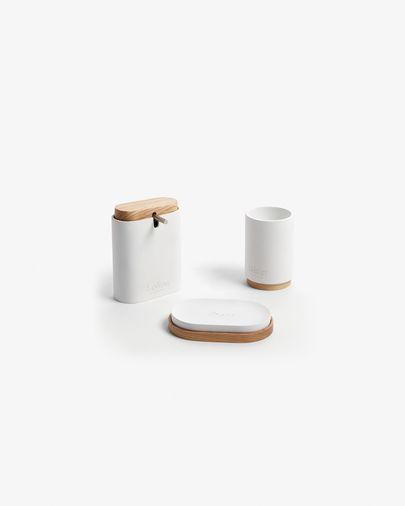 Dispensador de jabón Elora blanco y madera de haya