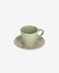 Tilla ceramic coffee cup with plate in light green