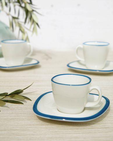 Filiżanka do kawy ze spodkiem Odalin porcelana biało-niebieska
