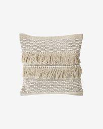 Malvina 100% cotton cushion cover with beige fringe 45 x 45 cm