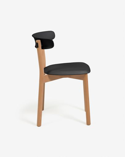 Santina solid beech chair in black