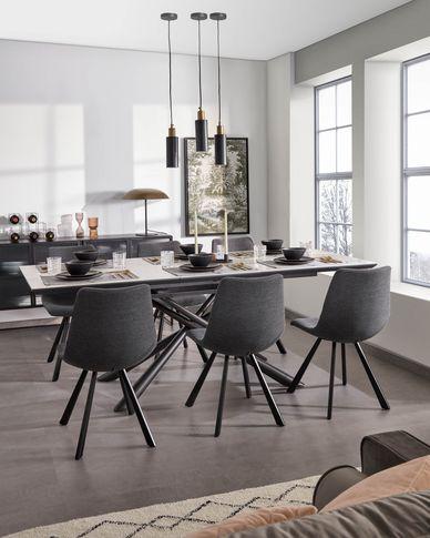 Theone ausziehbarer Tisch 160 (210) x 90 cm Feinsteinzeugplatte und schwarze Stahlbeine