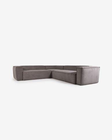 Sofà raconer Blok 4 places pana gris 290 x 290 cm