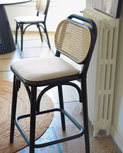 Doriane 65 cm height solid elm stool with black lacquer finish and upholstered seat