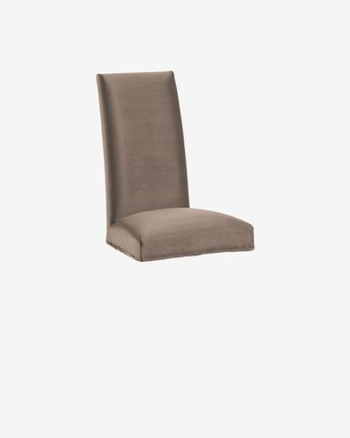 Housse de chaise Freda velours taupe