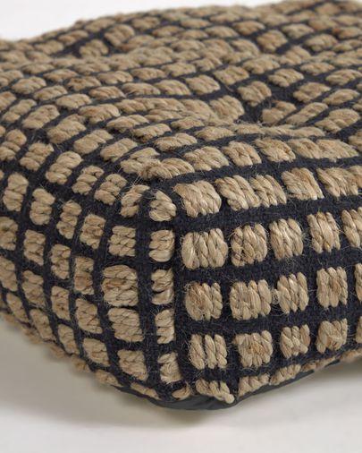 Coussin de sol et palette Adelma en jute et coton noir et naturel 63 x 63 cm