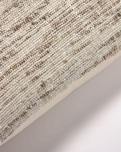 Funda cojín Devi algodón y lino rayas beige y marrón 45 x 45 cm