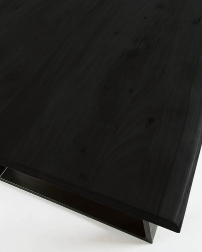 Alaia table in solid black acacia wood with black steel legs 180 x 90 cm