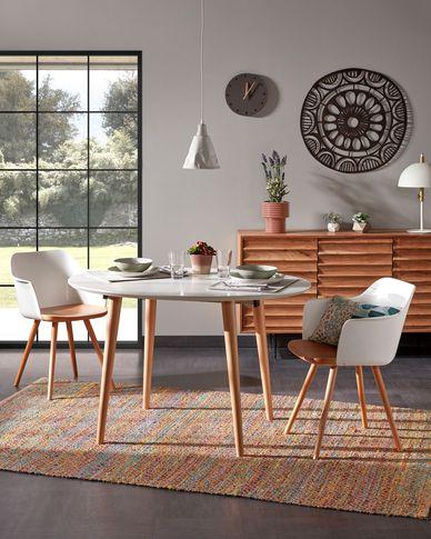 Oqui ovaler ausziehbarer Tisch weiß 120 (200) x 90 cm