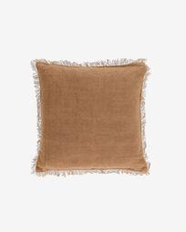 Capa almofada Almira algodão e linho franjas castanho 45 x 45 cm