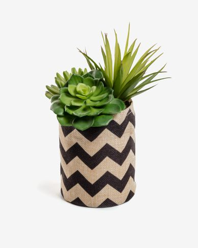 Artificial Suculenta mix in natural and black raffia pot