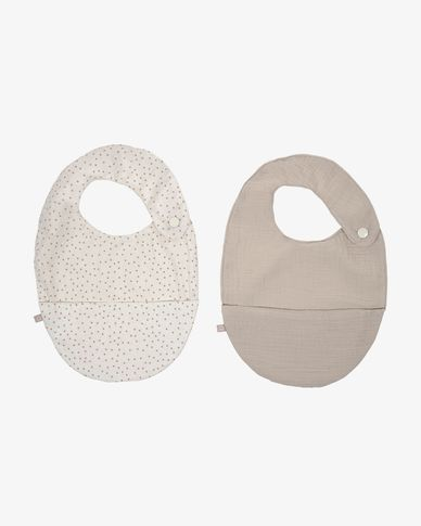 Set of two 100% organic cotton (GOTS) Maren bibs in beige and pink polka dots