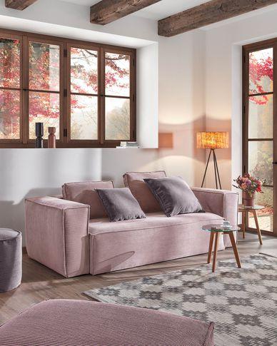 Blok 2-seater sofa in pink corduroy 210 cm