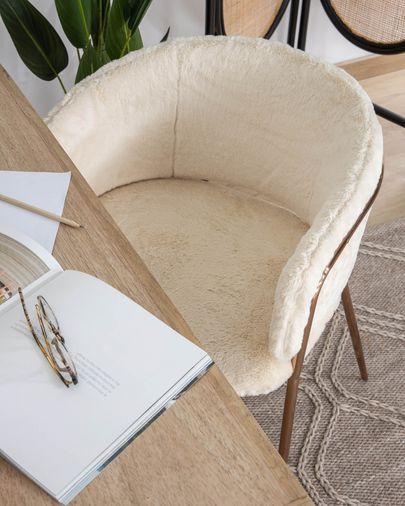 Chaise Runnie fausse fourrure blanc