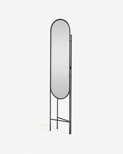 Paravent avec miroir Vaniria métal noir 82 x 183 cm