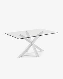 Argo tafel 180 cm glas wit benen