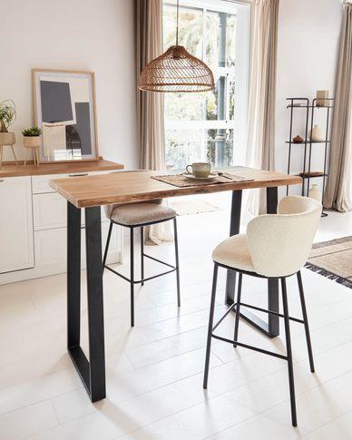 Alaia hoher Tisch aus massivem Akazienholz mit natürlichem Finish 140 x 60 cm