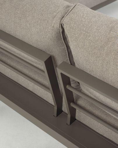 Canapé d'angle modulable 5 places et table Duka en aluminium coussins marron