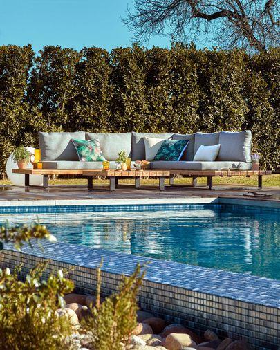 Set Zalika de sofá rinconero de 5 plazas y mesa FSC 100%
