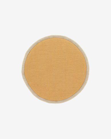 Prisa round chair cushion in mustard, 35 cm