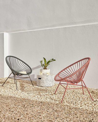 Set Lelis de 2 macetas con plato terrazo blanco Ø 30 cm