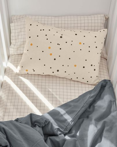 Xiel Kissenbezug, Punkte, 100% Bio-Baumwolle (GOTS), schwarz und gelb, 30 x 50 cm