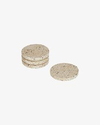 Verna set of 4 coasters in white terrazzo