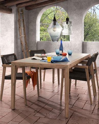 Silla Vetter madera maciza de eucalipto y cuerda gris oscuro FSC 100%