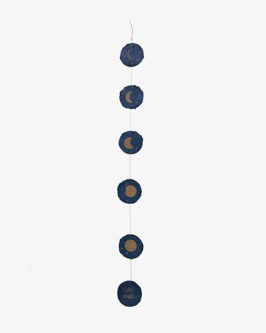 Slinger Astrea met maanfases op een blauwe achtergrond