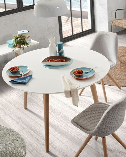 Oqui round extendable table 120 (200) x 120 cm white