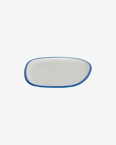 Piatto da dessert Odalin in porcellana bianca e blu