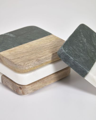 Wilmina set of 4 coasters in green stone and wood