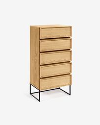 Taiana chest of drawers with oak veneer and steel frame with black finish 60 x 120 cm