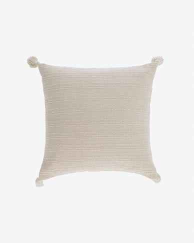 Funda coixí Devi 100% cotó borles blanc 45 x 45 cm