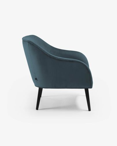 Fauteuil Bobly velours turquoise pieds finition wengé