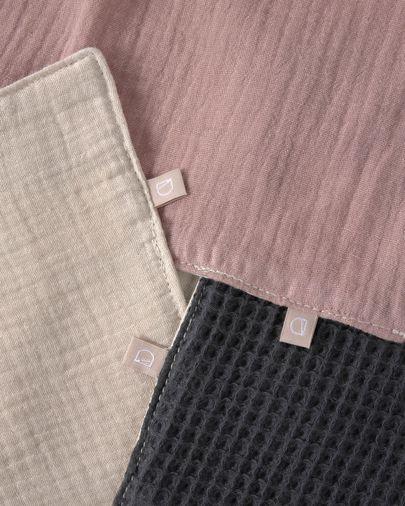 Indi set van 3 100% biologisch katoenen (GOTS) handdoeken in roze, beige en grijs