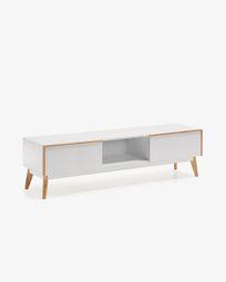 Mueble TV Melan 150 x 45 cm con lacado blanco y madera maciza de caucho