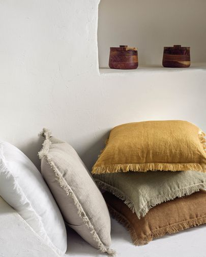 Almira mustard cotton and linen cushion cover with fringe 45 x 45 cm