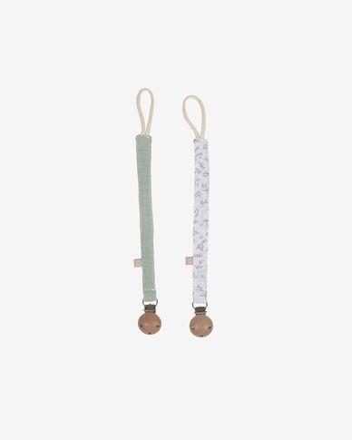 Lot de 2 attache-tétines Yamile 100% coton bio (GOTS) turquoise, blanc et feuilles grises