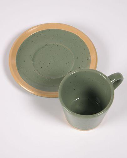 Tasse à café avec soucoupe Tilia en céramique vert foncé