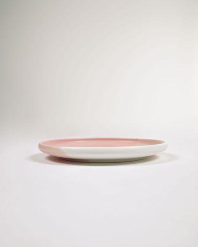 Prato de sobremesa Sayuri de porcelana rosa e branco