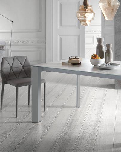 Axis uitschuifbare tafel 140 (200) cm porselein afwerking Kalos wit grijs benen