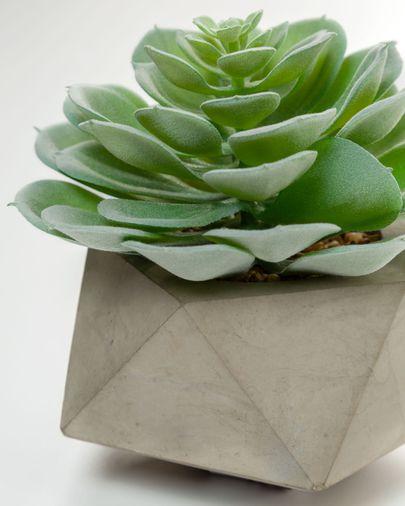 Planta artificial Echeveria glauca amb test de ciment 14 cm