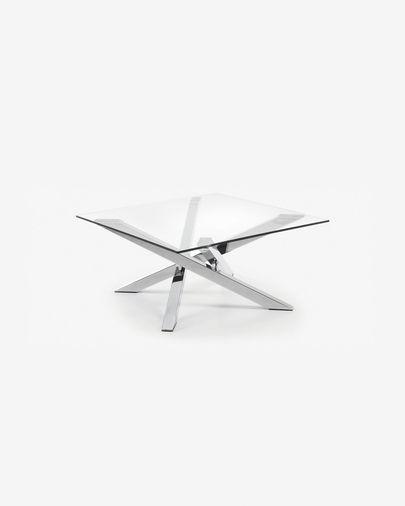 Kamido coffee table 90 x 90 cm on glass top steel legs